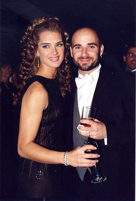 Brooke Shields & Andre Agassi during 1997 Andre Agassi Fundraiser in Las Vegas, Nevada, United States. (Photo by Jeff Kravitz/FilmMagic)